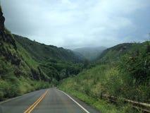 Camino a través del lado verde enorme de la montaña en Hawaii Fotos de archivo
