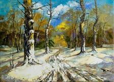 Camino a una madera del invierno Foto de archivo libre de regalías