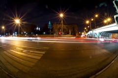 Camino urbano de la noche de la ciudad Fotografía de archivo
