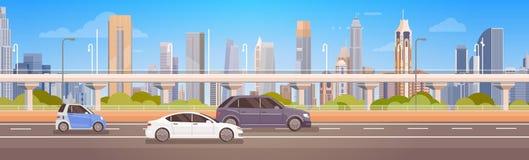 Camino urbano del panorama de la calle de la ciudad de la conducción de automóviles stock de ilustración