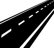 Camino vacío, camino con perspectiva y líneas del divisor ilustración del vector