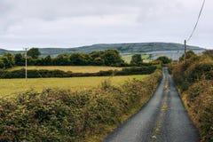 Camino vacío con el Burren en Irlanda imagen de archivo