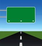 Camino vacío con la señal de tráfico en blanco ilustración del vector