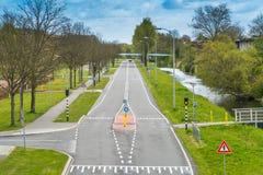Camino vacío en Lelystad Foto de archivo libre de regalías