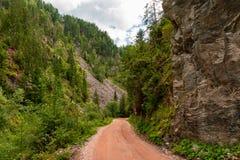 Camino vacío ocultado montaña del rastro fotografía de archivo