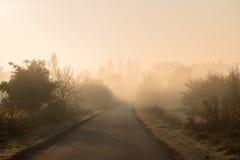 Camino vacío por mañana brumosa del otoño Imagenes de archivo