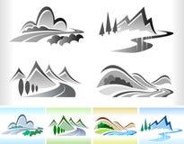 Camino y colina - conjunto del ICONO del color B/W Imágenes de archivo libres de regalías