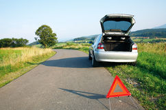 Camino y el accidente de tráfico Foto de archivo libre de regalías