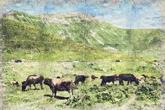 Camino y montaña en verano La República de Georgia Digitaces AR stock de ilustración