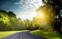 Camino y relámpago Foto de archivo libre de regalías