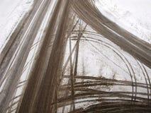 Caminos abstractos de la intersección en invierno Imagenes de archivo
