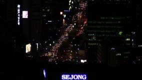 Caminos de la Corea del Sur de Seul en la noche almacen de metraje de vídeo