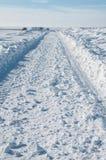 Caminos de la nieve después de una tormenta Fotografía de archivo