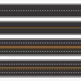 caminos Fondo inconsútil, carreteras de asfalto rectas horizontales fijadas stock de ilustración