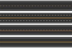 Caminos inconsútiles horizontales Sistema de la carretera de asfalto con las marcas Carretera recta stock de ilustración