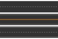 Caminos inconsútiles horizontales Sistema de la carretera de asfalto con las marcas Carretera recta ilustración del vector