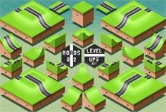 Caminos isométricos en terreno de dos niveles stock de ilustración