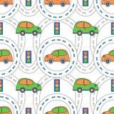Caminos y coches de la historieta ilustración del vector