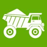 Camion à benne basculante avec le vert d'icône de sable