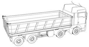 Camion à benne basculante d'isolement Illustration créée de 3d Fil-cadre illustration libre de droits