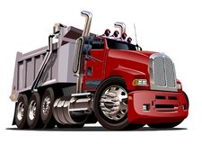 Camion à benne basculante de dessin animé de vecteur Photo stock