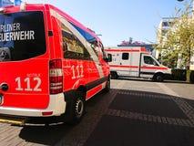 Camion allemand de corps de sapeurs-pompiers images libres de droits