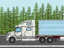 Camion americano bianco Fotografie Stock