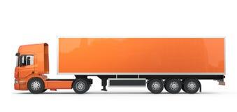 Camion arancio lungo Fotografie Stock Libere da Diritti