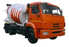 Camion arancio moderno del miscelatore Fotografia Stock