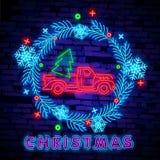 Camion au néon de Noël Camion rouge de Noël d'illustration de vecteur de cru avec un arbre de Noël Rétro carte au néon illustration libre de droits