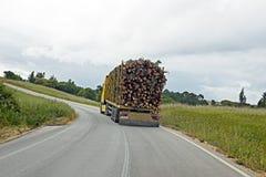 Camion avec du bois conduisant au Portugal Images stock