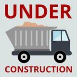 Camion avec l'autocollant en construction de sable Photos libres de droits