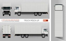 Camion avec la maquette de vecteur de récipient Photos stock