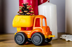 Camion avec le cône photo stock
