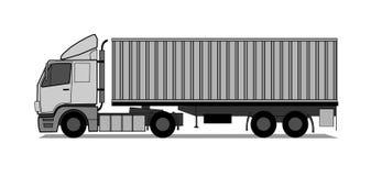 Camion avec le récipient d'expédition Photographie stock