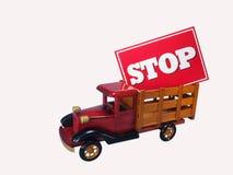 Camion avec le signe d'arrêt Image stock