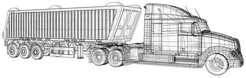 Camion avec le vecteur de remorque D'isolement sur le blanc Maquette de véhicule Illustration créée de 3d Fil-cadre