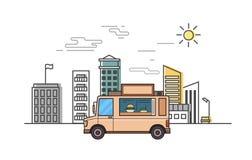Camion beige de nourriture sur le fond stylisé de paysage urbain Illustration plate de vecteur Ligne style mince, fond blanc Photos stock