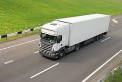 Camion bianco con il rimorchio (vista superiore) Fotografie Stock Libere da Diritti