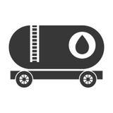 Camion in bianco e nero dell'olio del carico, grafico di vettore Immagine Stock