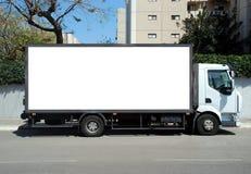 Camion blanc avec le panneau blanc Photos libres de droits