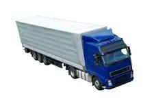Camion blu isolato con il rimorchio grigio (vista superiore) Fotografia Stock