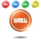 Camion, bottone, illustrazione 3D Immagini Stock