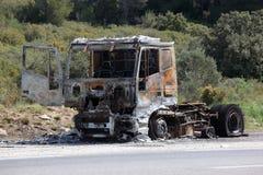 Camion bruciato Fotografie Stock Libere da Diritti