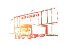 Camion che consegna carico, scaricante le merci nel magazzino, la logistica e distribuzione, fornitore all'ingrosso illustrazione di stock