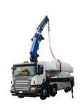 Camion che consegna pacchetto di legno - isolato Fotografia Stock Libera da Diritti