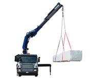 Camion che consegna pacchetto di legno - isolato Fotografia Stock