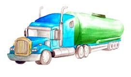 Camion cictern del trattore del semirimorchio dell'acquerello con il carro armato verde e la cabina blu isolati su fondo bianco royalty illustrazione gratis