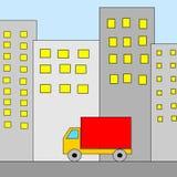 Camion in città Immagini Stock