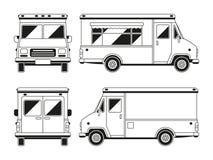 Camion commercial vide de nourriture dans différents points de vue Calibre de vecteur d'ensemble pour vous la publicité illustration libre de droits